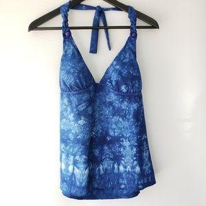 Lucky Brand *New* Blue Tie Die Tankini, Size L